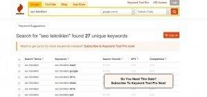 keywordtool.io anahtar kelime seo analiz aracı